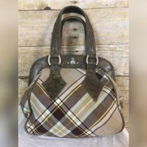 Vivienne Westwood Plaid Leather Bag Purse Handbag